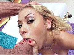 marsha may deepthroats his massive rod in a slobbery blowjob