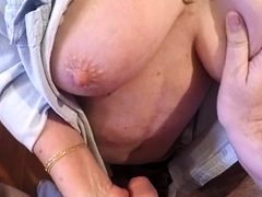 Naughty granny flaunts her big boobs and sucks a cock in POV