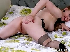 Blonde office slut toying pussy in stilettos retro nylons