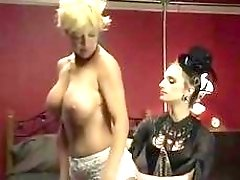 Stirring blondie with short hair gets barebacked by hot shemale