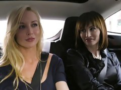 Beautiful lesbians Kayden Kross and Ava Courcelles fuck in the bed