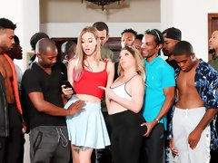 Brutal face-fucking with two awesome teens Haley Reed and Kiki Daire