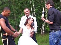 The groom the bride fucked hard in the wood