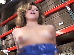Big black dick fucking a white slut in the warehouse