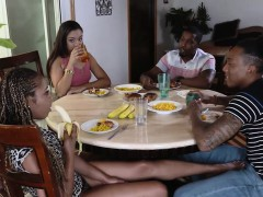Two gorgeous ebonies orgy with their uncle and nephew
