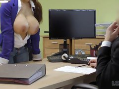 Outstanding big-breasted brunette penetrated in the office