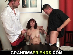 Old threesome orgy after strip poker