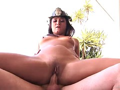 hot firefighter lady getting her shaved pussy fucked outdoors