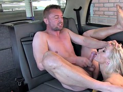 female british cabbie cockrides her passenger