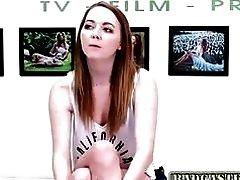 Casting BDSM slut gets tied up and face fucked hard