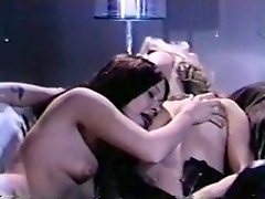 Alluring Retro Lesbian Fondles Blonde's Nipples By Her Tongue
