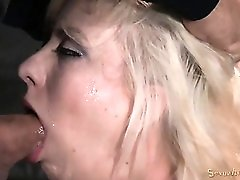 Tied up bleach blonde face fucked by horny guys