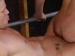 Two men stroking after dirty ass eating