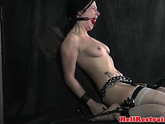 Ballgagged bdsm sub tied up and flogged